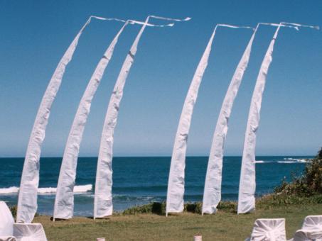 Hochzeitsfahne Balifahne 3m - 8m weiß