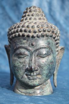 Buddha Kopf Altbronze 15x11 cm