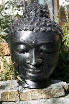 grosser Buddhakopf aus Bronze 30 cm