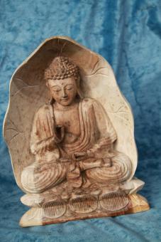 Buddha Holz mit Rahmen 33cm