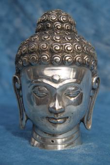 Buddha Kopf aus Silberbronze 12 x 7 cm