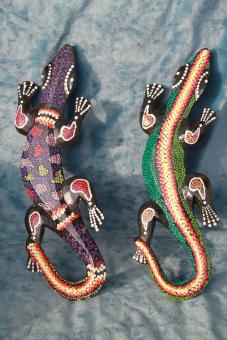 Gecko aus Holz bunt 37 cm