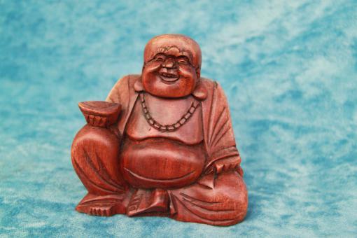Buddha aus Holz 15 cm Happy Buddha