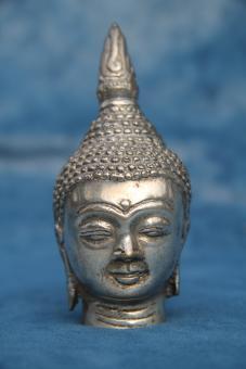 Buddhakopf klein silber Haube 10 x 4 cm
