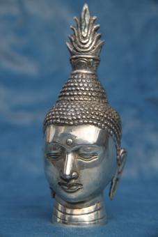 Buddha-Kopf silberbronze Haube 15x6 cm